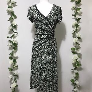 Dress Barn Short Sleeve Green Patterned Dress 8